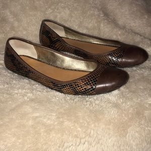 Banana Republic Brown Reptile Ballet Shoes Sz 9.5